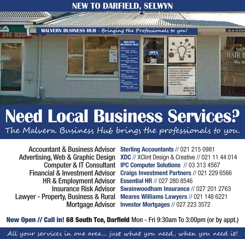 Business services and advice in Darfield, Selwyn