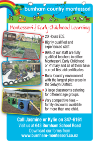 Burnham Country Montessori the best preschool in Rolleston Selwyn Christchurch